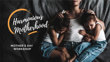 Mother's Day Workshop Announcement with Mom and Kids FB event cover – шаблон для дизайна
