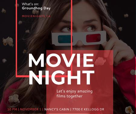 Plantilla de diseño de Movie Night Event Woman in 3d Glasses Facebook