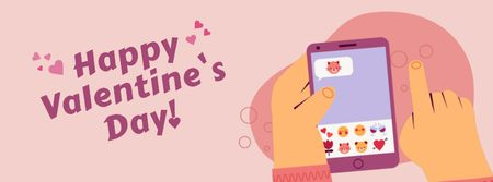 Man sending Valentine's Day messages Facebook Video cover Tasarım Şablonu