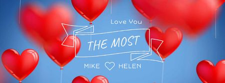Ontwerpsjabloon van Facebook Video cover van Red heart-shaped Balloons for Valentine's Day