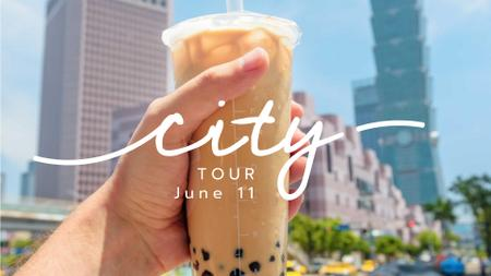 City Walk with Bubble tea FB event cover – шаблон для дизайна