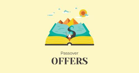 Plantilla de diseño de Passover Offer with Open Book Facebook AD