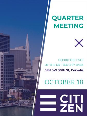 Quarter Meeting Announcement City View Poster USデザインテンプレート