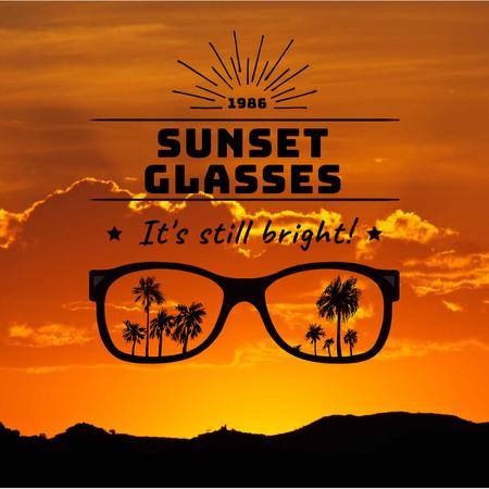 Summer Sunset with Palms in Glasses Instagram Design Template