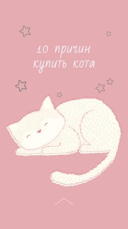 Cute Cat Sleeping in Pink Instagram Story – шаблон для дизайна