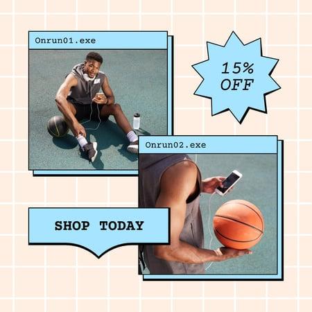 Sale Discount Offer with Muscular Attractive Basketball Player Instagram – шаблон для дизайну