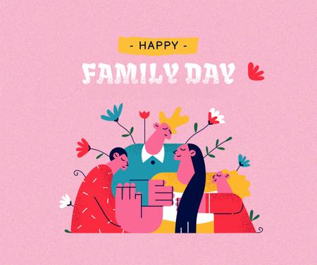 Family Day Inspiration with Cute Parents and Kids Facebookデザインテンプレート
