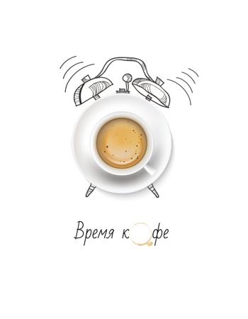 Cup of Coffee with Alarm Clock illustration T-Shirt – шаблон для дизайна