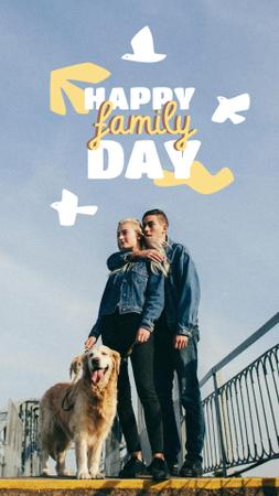 Family Day Greeting with Couple and Dog Instagram Story – шаблон для дизайна