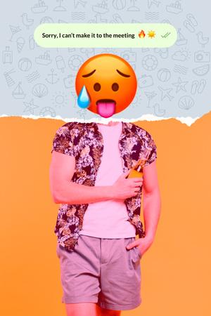 Funny Illustration of Hot Face Emoji with Male Body Pinterest Modelo de Design
