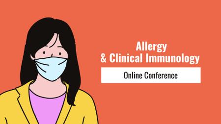 Modèle de visuel Healthcare lecture announcement with Woman wearing mask - FB event cover