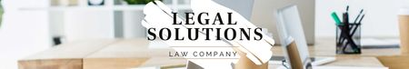 Law Company profile on office table LinkedIn Cover Modelo de Design