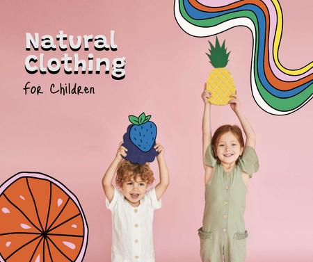 Natural Clothing for Kids Offer Facebook Design Template