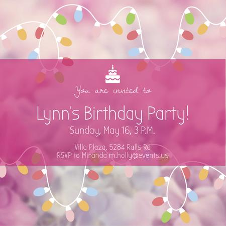 Birthday Party Garland Frame in Pink Instagram AD – шаблон для дизайну