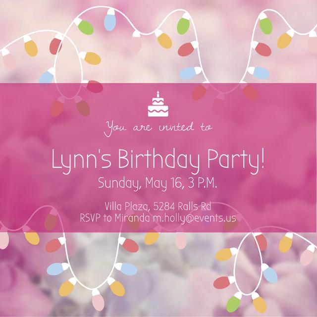 Birthday Party Garland Frame in Pink Instagram AD Modelo de Design