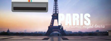 Tour Invitation with Paris Eiffel Tower Facebook Video cover Modelo de Design