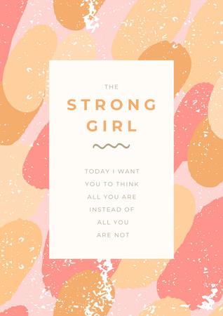 Designvorlage Girl Power Inspiration with Pink Bubbles für Poster