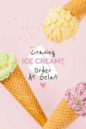 Plantilla de diseño de Ice Cream ad with cones Tumblr