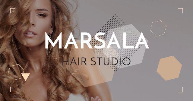 Ontwerpsjabloon van Facebook AD van Woman with beautiful Manicured hair
