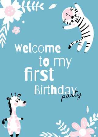 First Birthday Party Announcement with Cute Animals Invitation Modelo de Design
