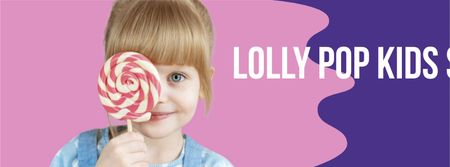 Modèle de visuel Cute Girl holding Big Lolly Pop - Facebook cover