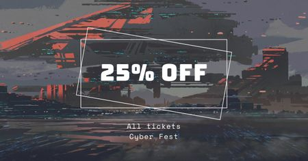 Plantilla de diseño de Cyber Fest Tickets Offer Facebook AD