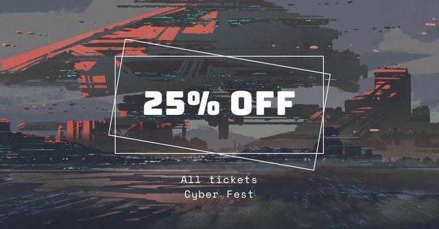 Cyber Fest Tickets Offer Facebook AD Modelo de Design