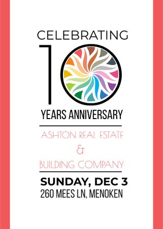 Template di design Celebrating company 10 years Anniversary Invitation