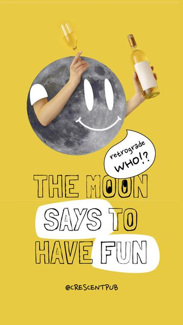 Szablon projektu Funny Illustration of Moon holding Champagne Instagram Story