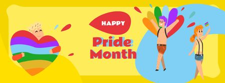Modèle de visuel Pride Month Announcement with People on Demonstration - Facebook cover