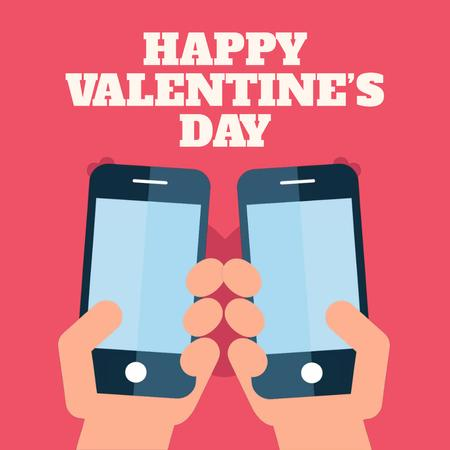 Valentine's Day with Couple sending Messages Animated Post Modelo de Design