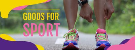 Modèle de visuel Sport Goods Offer with Woman tying Shoelaces - Facebook cover