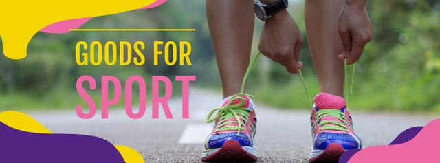 Template di design Sport Goods Offer with Woman tying Shoelaces Facebook cover