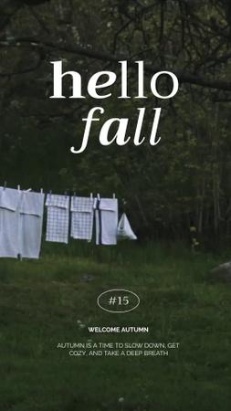 Plantilla de diseño de Autumn Inspiration with Drying Laundry in Garden Instagram Video Story