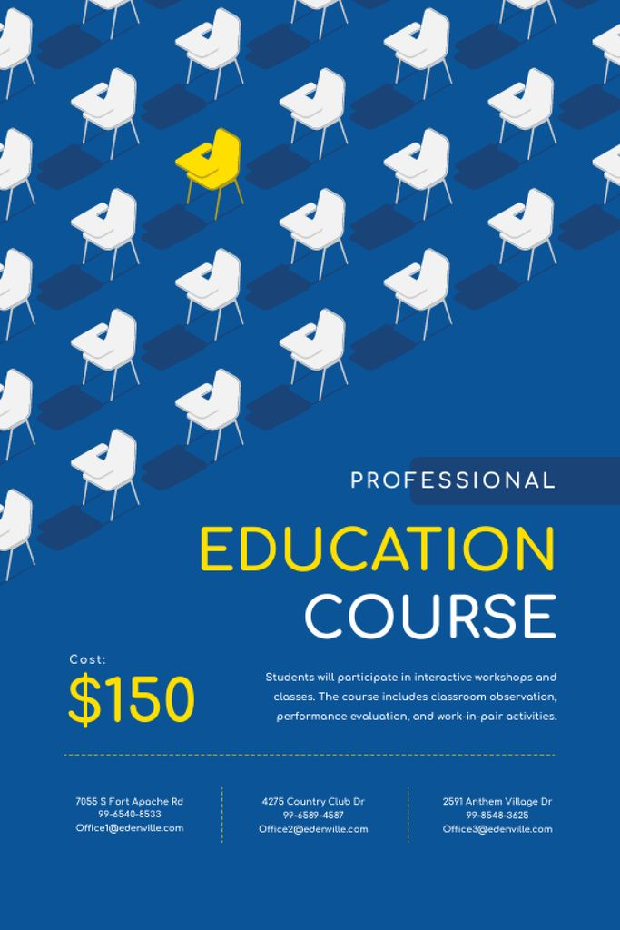 Platilla de diseño Education Course Promotion with Desks in Rows Tumblr