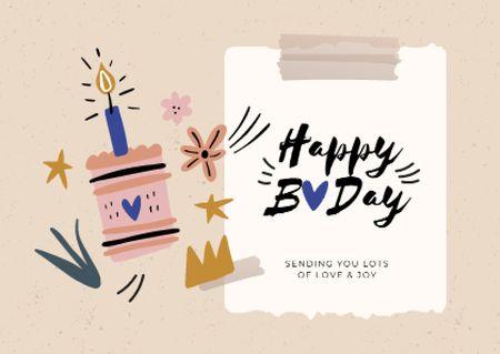 Plantilla de diseño de Birthday greeting with Cake Card