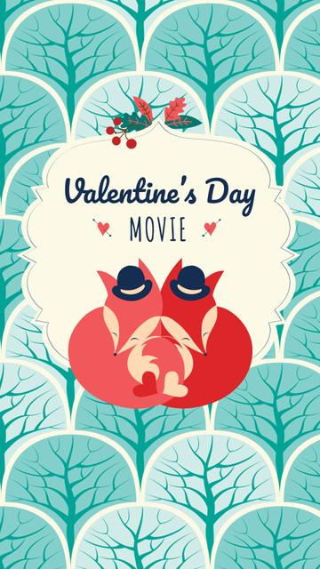 Valentine's Day Movie Announcement with Cute Foxes Instagram Story Modelo de Design