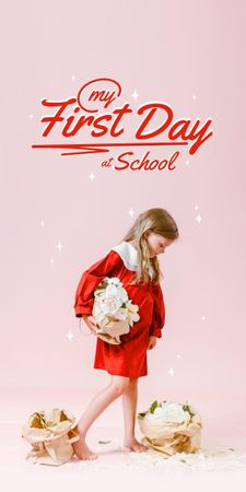Back to School with Cute Little Girl Graphic – шаблон для дизайна