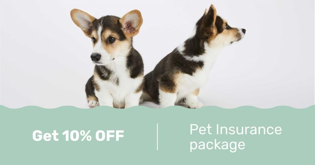 Plantilla de diseño de Pet Insurance Offer with Cute Puppies Facebook AD