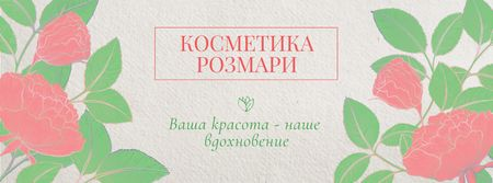 Cosmetics Shop Offer with Flowers Facebook cover – шаблон для дизайна