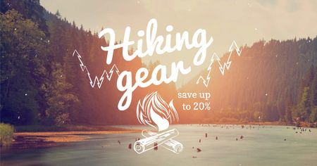 Plantilla de diseño de Hiking Gear offer with forest view Facebook AD