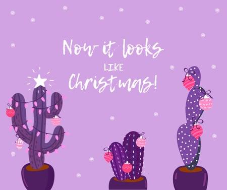 Ontwerpsjabloon van Facebook van Decorated Cactuses for Christmas greeting