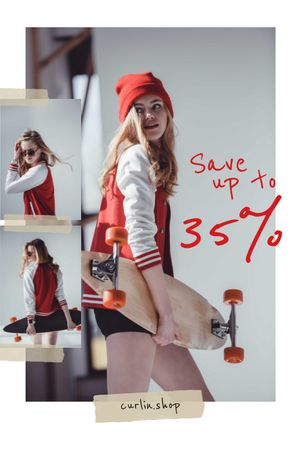 Stylish Young Girl with skateboard Tumblr Design Template
