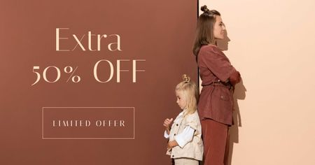 Template di design Fashion Ad with Stylish Woman and Girl Child Facebook AD