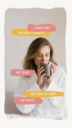 Template di design Woman enjoying Morning Coffee Instagram Story