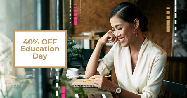 Education Day Offer with Woman making Notes Facebook AD Modelo de Design