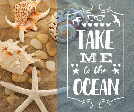 Travel inspiration with Shells on Sand Facebook Modelo de Design