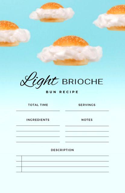 Light Brioche Bun Cooking Steps Recipe Card – шаблон для дизайна
