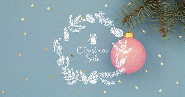 Ontwerpsjabloon van Facebook AD van Christmas Sale Ad with Tree Ball