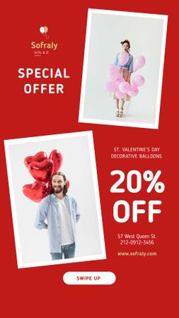 Designvorlage Valentine's Day Couple with Balloons in Red für Instagram Video Story